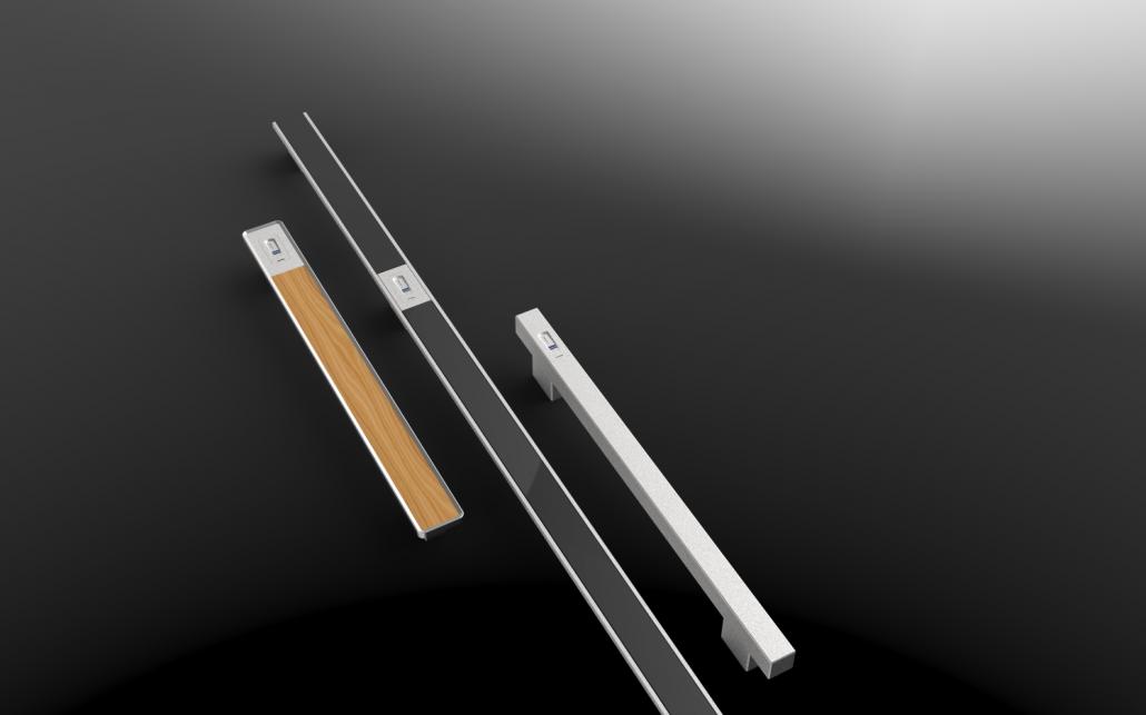 V zModerni ročaji iz nerjavečega jekla s steklenim, lesenim ali aluminijastim vstavkom ter odklepanjem na prstni odtis.
