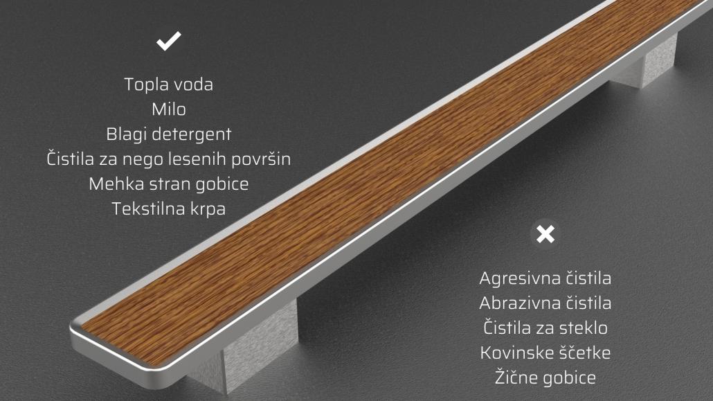 Nega in vzdrževanje ročajev_Čiščenje lesa oz. lesenih vstavkov pri ročajih iz nerjavečega jekla za vhodna vrata