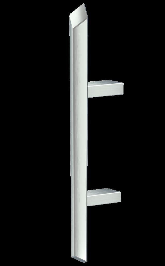 Inox ročaji s poševnim vpetjem za vhodna vrata - inox door handles with 45-degree mount for front doors - Edelstahl-Türgriffe mit 45-Grad Einspannungen (Türbeschläge) für Eingangstür
