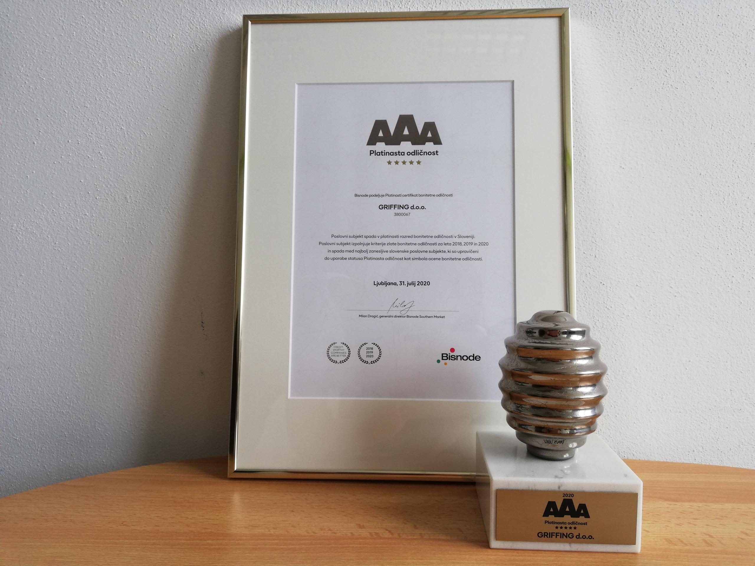 Platinasta odličnost AAA 2020 - Platinum Creditworthiness AAA 2020 - Bonitaet Platin AAA 2020 - Griffing