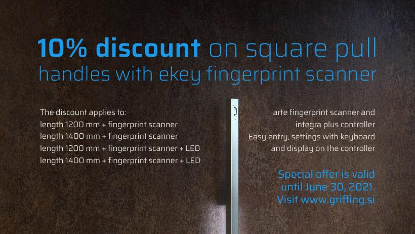 Special offer on square door handles with a built-in ekey fingerprint scanner