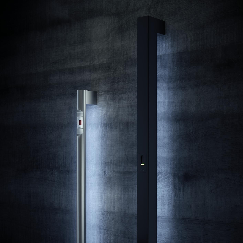 Ročaji s čitalnikom prstnih odtisov - Fingerprint reader on door handles - Griffing